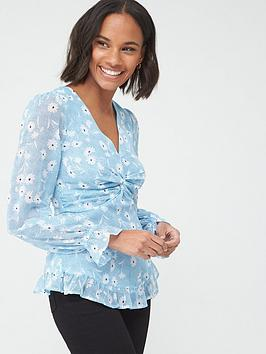 v-by-very-floral-twist-front-blouse-blue-floral