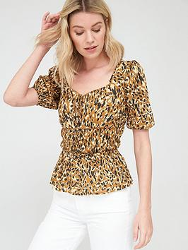 V by Very V By Very Round Neck Shirred Short Sleeve Blouse - Leopard Picture