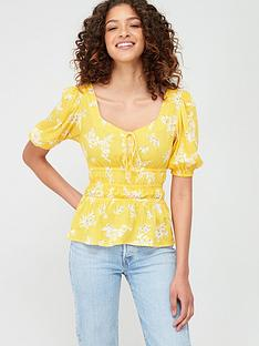 v-by-very-shirred-short-sleeve-blouse-yellow