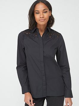 V by Very V By Very Lace Yoke Cotton Shirt - Black Picture