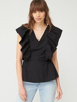 V by Very V By Very Ruffle Cotton Blouse - Black Picture