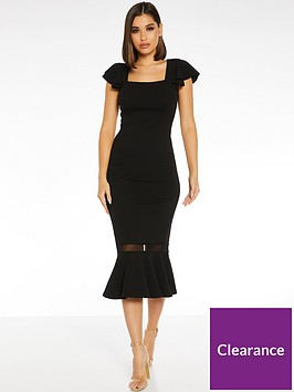 quiz-square-neck-frill-sleeve-midi-dress-black