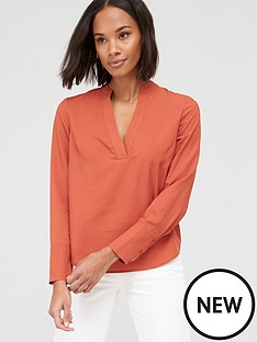 v-by-very-tencel-notch-neck-shirt-orange