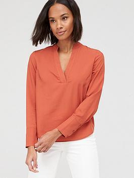 V by Very V By Very Tencel Notch Neck Shirt - Orange Picture