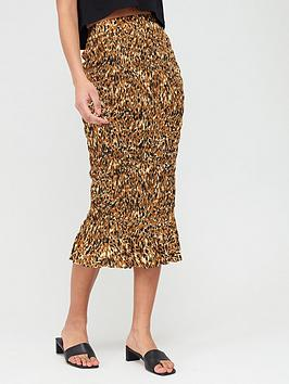 V by Very V By Very Shirred Midi Skirt - Animal Print Picture