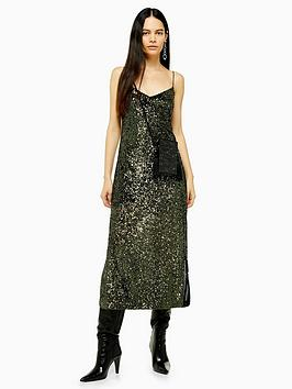 topshop-sequin-midi-dress-khaki