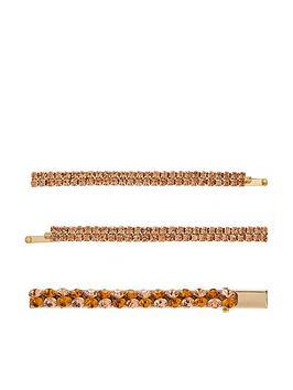 Accessorize   3 X Bronze Gem Hair Slides - Gold
