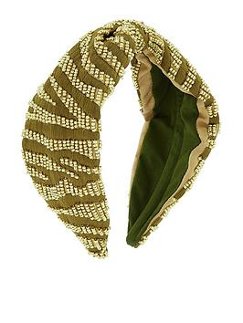 Accessorize Accessorize Zebra Embellished Alice Hair Band - Green Picture