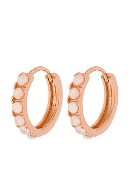 Accessorize Accessorize Z Rg Opal Huggie Hoop Earrings - Rose Gold Picture