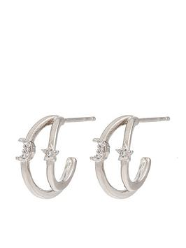 Accessorize Accessorize Star &Amp; Moon Double Hoop Earrings - Silver Picture