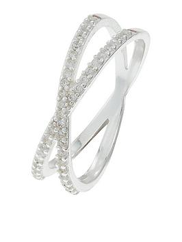 Accessorize Accessorize Sterling Silver Pave Cross Ring - Crystal Picture