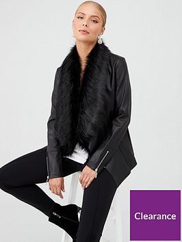 wallis-glam-fur-waterfall-jacket-black