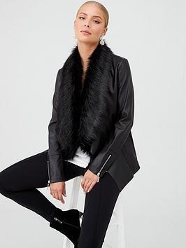 Wallis Wallis Glam Fur Waterfall Jacket - Black Picture