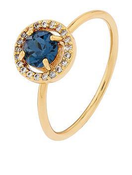 Accessorize Accessorize Z Swarovski Sparkle Halo Ring - Gold Picture
