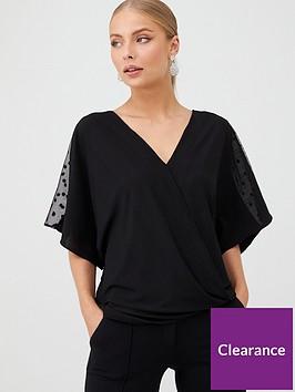 wallis-dobby-insert-crinkle-wrap-top-black