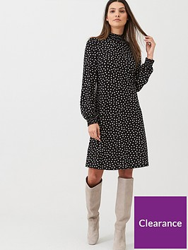 wallis-spot-sheered-neck-amp-cuff-swing-dress-monochrome