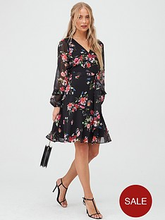 wallis-floral-ruffle-sleeve-fit-amp-flare-dress-black