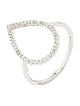 Accessorize Accessorize Z Pl Sparkle Pear Open Work Ring - Silver Picture