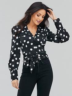 michelle-keegan-spot-tie-back-blouse-monochrome