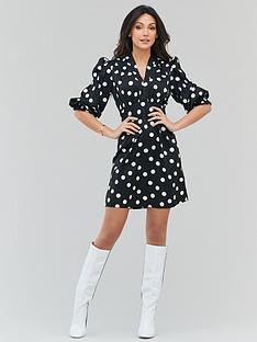 michelle-keegan-spot-tie-front-mini-dress-monochrome