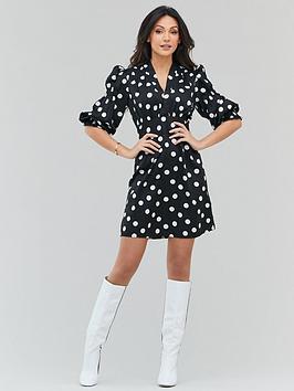 Michelle Keegan Michelle Keegan Spot Tie Front Mini Dress - Monochrome Picture