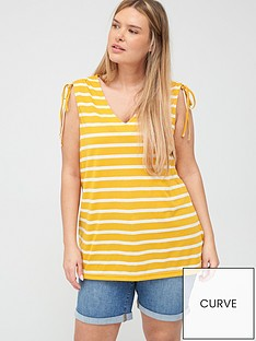 junarose-adella-striped-tie-top-yellow