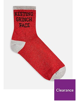 topshop-resting-grinch-face-christmas-socks-red
