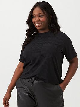 V by Very Curve V By Very Curve Slinky Rib T-Shirt - Black Picture