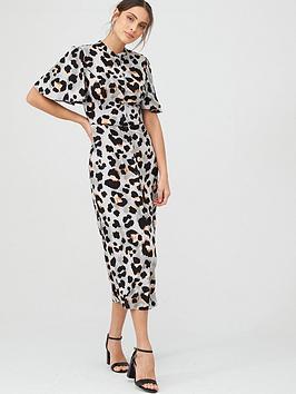 V by Very V By Very Angel Sleeve Midi Shirt Dress - Animal Print Picture