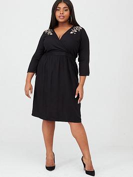 Junarose Junarose Octavia Embroidered Midi Dress - Black Picture
