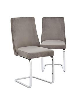 Very Pair Of Alice Velvet Dining Chairs - Grey/Chrome Picture