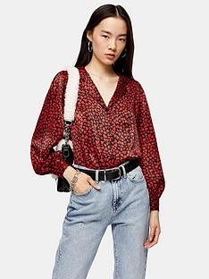 topshop-heart-print-shirt-red