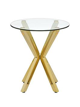 Very  Chopstick Glass And Brass Lamp Table