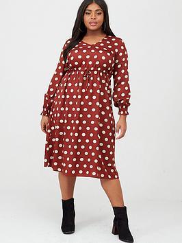 Junarose Junarose Elly Spot Midi Dress - Dark Red Picture
