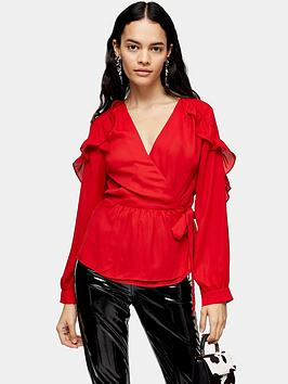 topshop-plain-wrap-frill-top-red