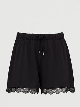 Junarose Junarose Iberis Lace Hem Casual Shorts - Black Picture