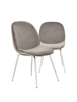 Very Pair Of Penny Fabric Dining Chairs - Grey/Chrome Picture
