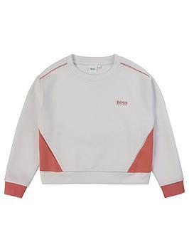 Boss Boss Girls Colourblock Crew Sweatshirt - White Picture