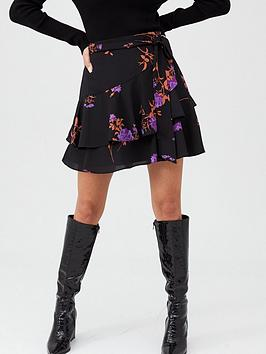 Oasis Oasis Violet Floral Flippy Skirt - Multi/Black Picture