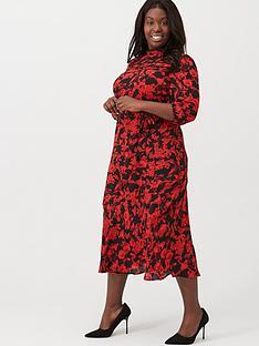 oasis-curve-scarlet-floral-puff-sleeve-midi-dress-black