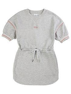 boss-girls-classic-logo-sweat-dress-grey