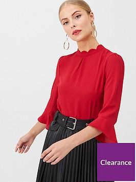 oasis-scallop-flute-sleeve-top-red