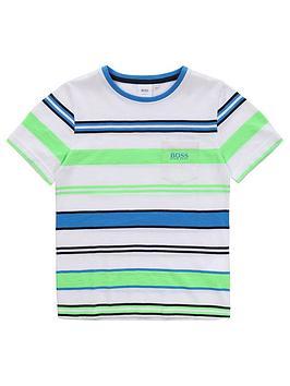 Boss Boss Boys Short Sleeve Stripe T-Shirt - Green Picture