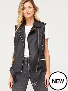v-by-very-pu-sleeveless-biker-gilet-black