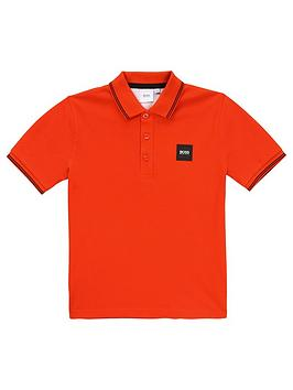Boss Boss Boys Classic Short Sleeve Pique Badge Polo - Bright Red Picture