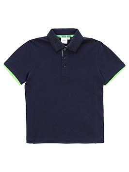 Boss Boss Boys Short Sleeve Jersey Logo Back Polo Shirt - Navy Picture