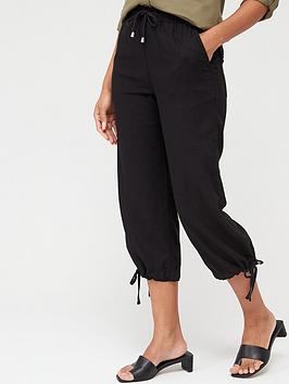 V by Very V By Very Linen Mix Crop Trouser - Black Picture