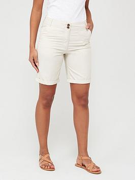 V by Very V By Very Longer Length Poplin Shorts - Ecru Picture