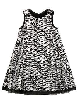 DKNY Dkny Girls Multi Logo Swing Dress - Black Picture