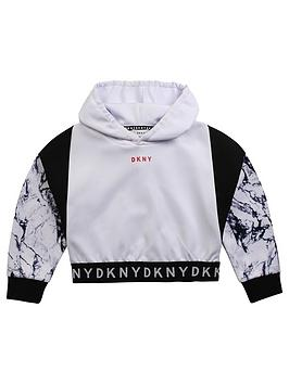 DKNY Dkny Girls Marble Print Logo Hoodie - White Picture